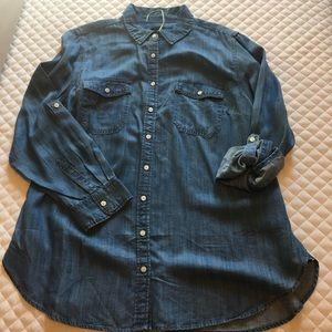 Talbots medium to light wash denim shirt